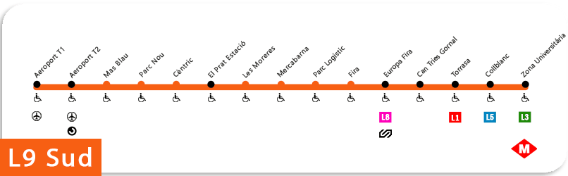 Plano linea 9 del metro de barcelona
